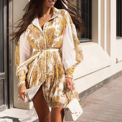 Women's Vintage Print Long Sleeve Dress