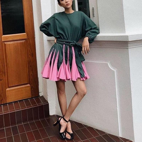 Sweet Long Sleeve Round Neck Colouring Dress