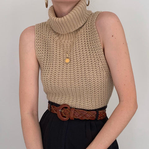 High Neck Sleeveless Knit Sweater Vest