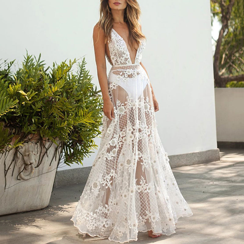 Sexy Deep V-Neck Lace Perspective Dress