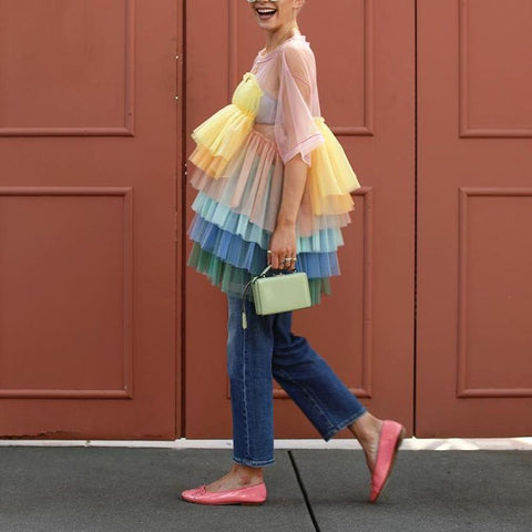 Women's Cute Colorful Multi-Layer Pleated See-Through Top