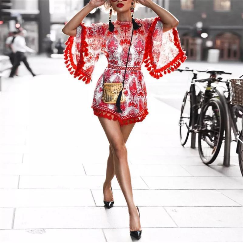 Ethnic Style Printed Flared Sleeve Slim Fit Fringed Mini Dress