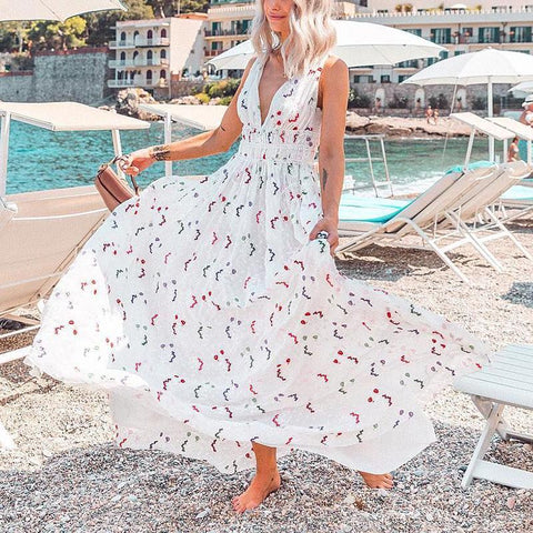 Sweet Deep V Neck Floral Pattern Sleeveless Loose Dress