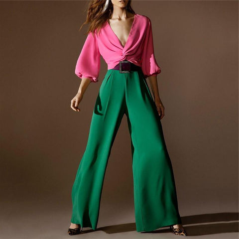 Fashion Deep V Bubble Sleeves Color Jumpsuits