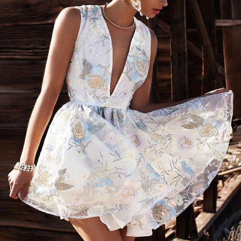 European And American Style  Sleeveless Printed Color V Neck Dress