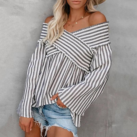 Sexy Word Collar Striped Printed Stitching Long Sleeve Shirts