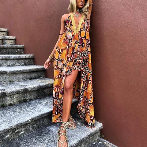 Women's Sweet Deep V Neck Printed Color Ruffled Dress