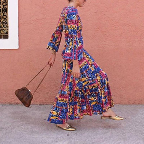 Elegant Printed Color Long Sleeve Round Neck Dress