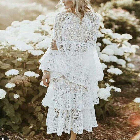Sweet Round Neck Bell Sleeve Lace Hollow Out Dress