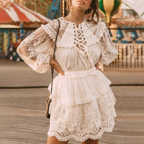 Round Neck Long Bubble Sleeves Pure Colour Ruffled Belted Lace Suit