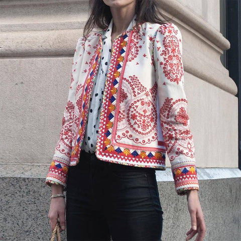 Bohemian Printed Color Long Sleeve Regular  Jacket