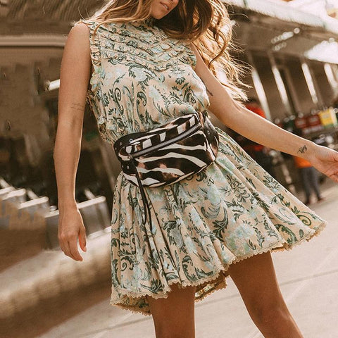 Casual Round Neck Sleeveless Print Dress