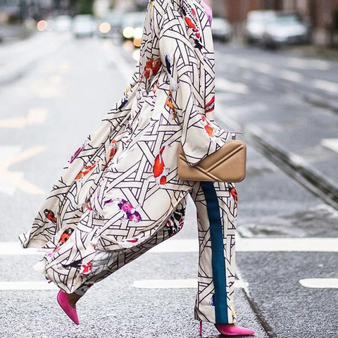 Casual Koi Fish Printed Bell Sleeve Long Cardigan Coat