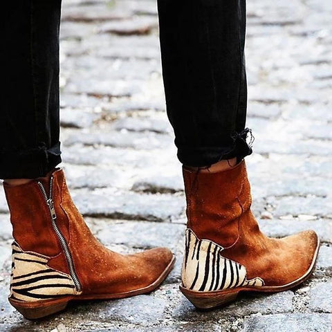 Fashion Zebra Flat Boots
