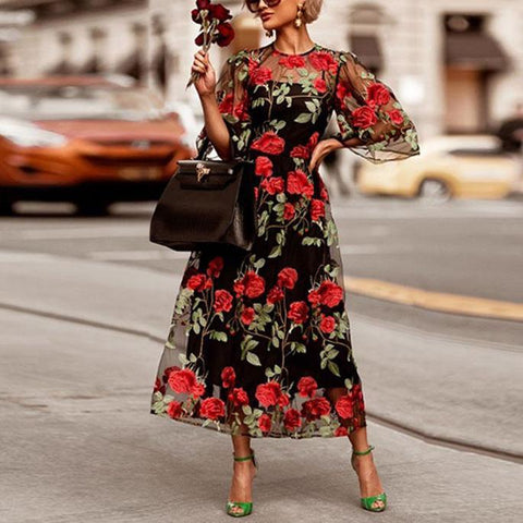 Elegant Hollow Out Floral Print Long Dress