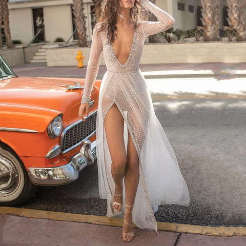 Sexy Plunging Neckline Backless Side Split Gauze Evening Maxi Dress