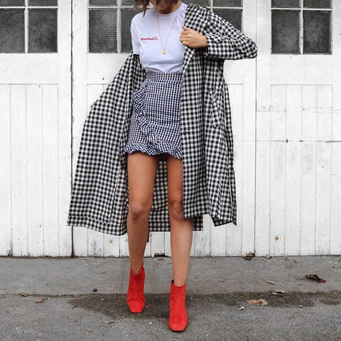 Casual Turndown Collar Long Sleeve Plaid Coat