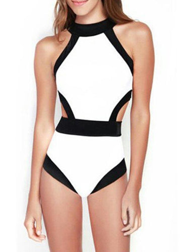 Color Block Sexy Halter One Piece