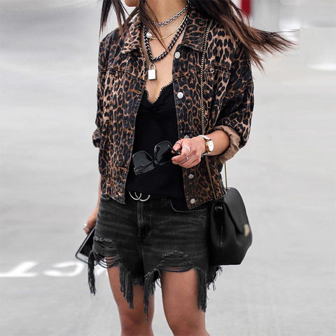 Fashion Leopard Print Fold Over Collar Long Sleeve Jacket