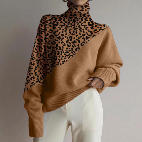 High Collar Leopard Stitching Loose Sweater
