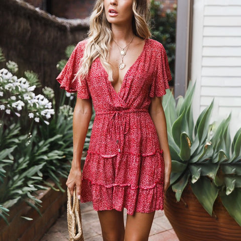 Sweet Short Sleeve Deep V-Neck Printed Color Ruched Dress