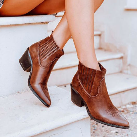 Ladies Fashion Waxed Leather Elastic Heel Ankle Boots