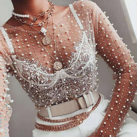 Fashion See-through Pearl Lace Sling Shirt