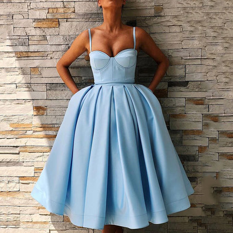 Retro Blue Sling Midi Tutu Evening Dress