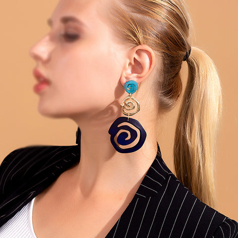 Fashion Exaggerated Hollow Shape Mixed Color Earrings
