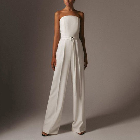Fashion Tube Top Solid Color Loose Jumpsuit