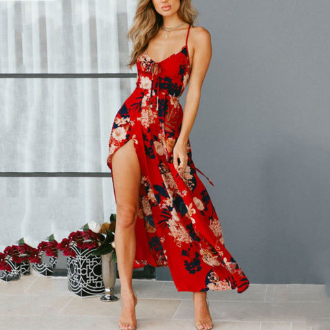 Spaghetti Strap  Backless High Slit  Floral Printed  Sleeveless Maxi Dresses