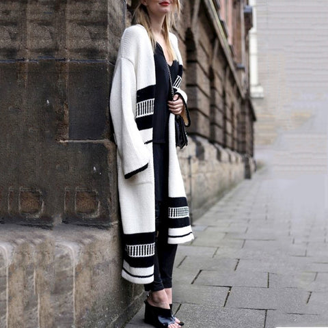 Fashion Long Sleeve Long Knited Cardigan