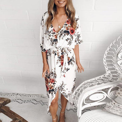 Fashion Floral Print Irregular Maxi Dress
