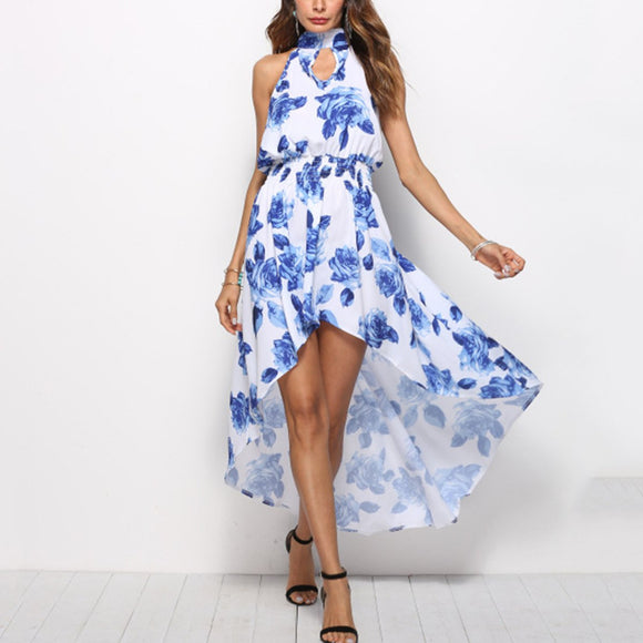 Bohemia Floral Print Beach Vacation Maxi Dress
