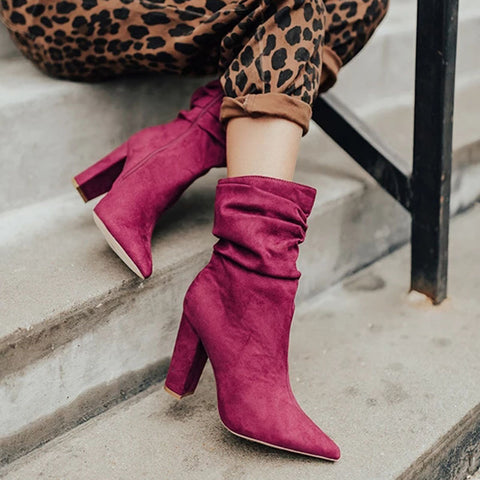 Fashion Solid Color Side Zip High Heel Boots
