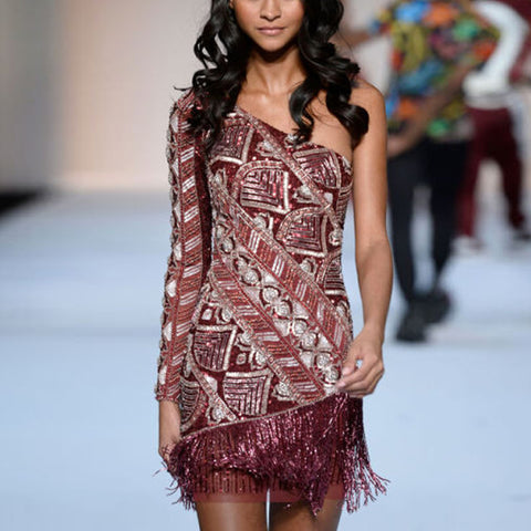 Sexy Ethnic Print Stitching Fringed Dress