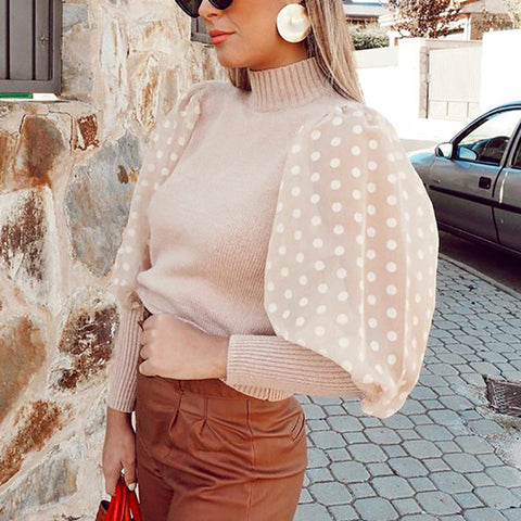 Fashion Round Neck Splicing Wave Point Puff Sleeve Knit Top