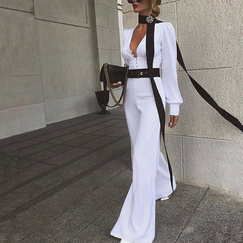 Sexy Deep V long Puff Sleeves Bell Pants Jumpsuit