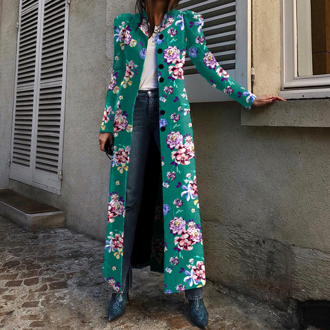 Casual Floral Printed Single Breasted Overcoat
