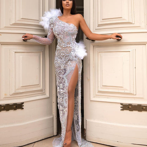 See Through Embroidery Feather Decor Party Dress