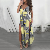 Fashion Printed Belted Split Vacation Dress