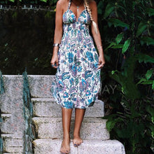 Halter  Backless  Bohemian Printed  Sleeveless Maxi Dresses
