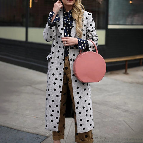 Casual Polka Dot Cotton Overcoat