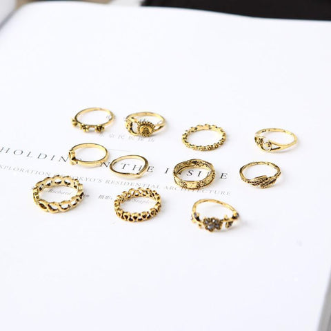 Flower-Studded Leaves 11-Piece Ring Pierced Moon Set