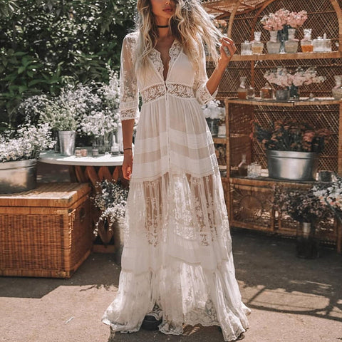 Sexy Deep V lace See-Through Bracelet Sleeve Long Vacation Maxi Dress