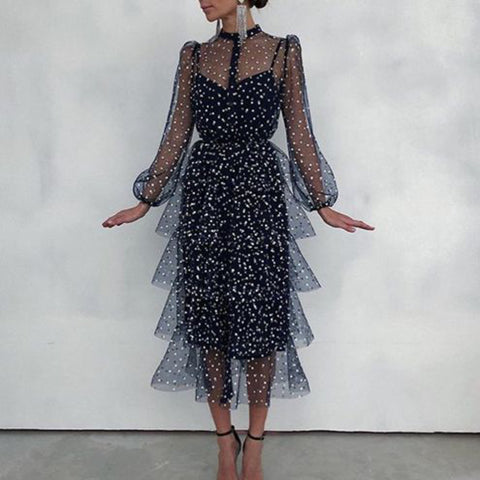 Fashion Round Neck Polka Dot Sheer Cake Dress