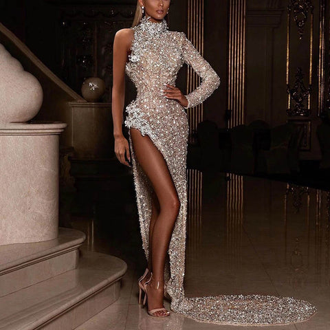 Shiny Off-the-shoulder High-cut Sexy Evening Dress