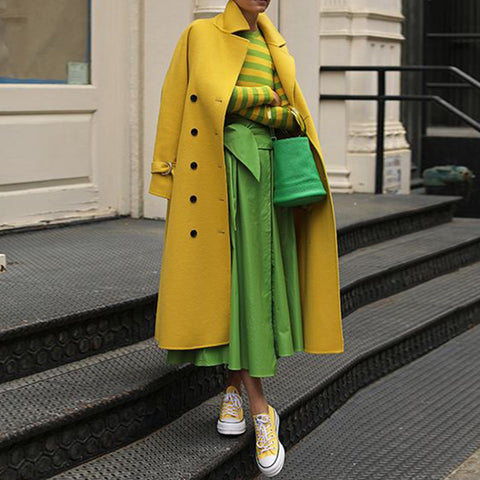 Fashion Solid Color Long Coat
