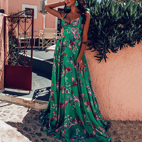 Bohemian Printed Color Sleeveless High-waist Sling Maxi Dress