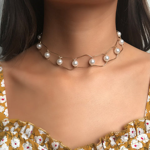 Contracted Pearl Water Ripple Clavicular Chain Necklaces
